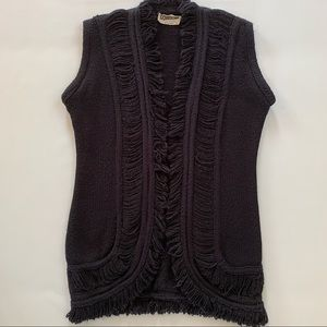 Vintage open front cardigan with fringes
